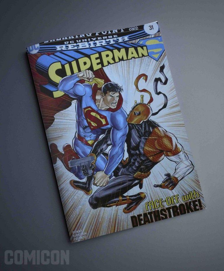 کمیک Superman face off with Death stroke